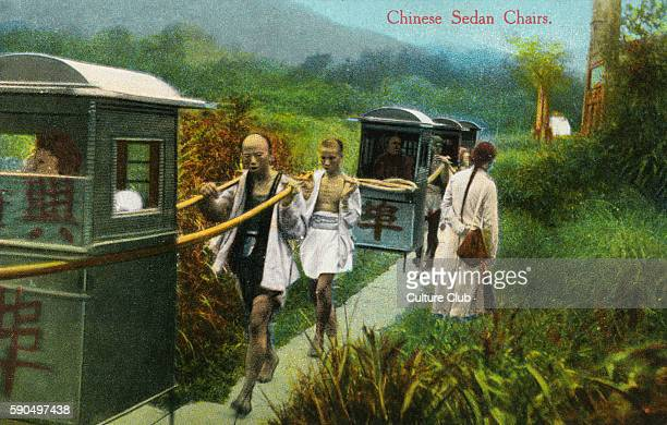 Chinese sedan chairs and bearers from a postcard dated 3 October 1914 The sender writes ' I have not been in a sedan chair nor am I going They do not...