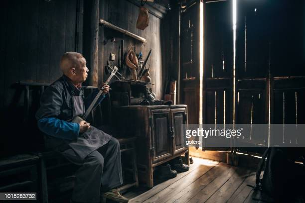chinese senior man playing longneck lute indoors - stringed instrument stock pictures, royalty-free photos & images