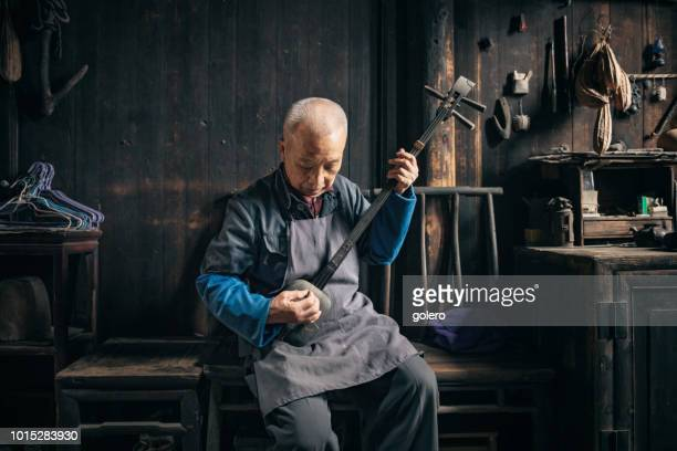 chinese senior man playing longneck lute indoors - chinese music stock pictures, royalty-free photos & images