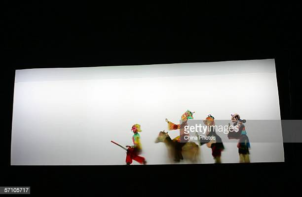 Chinese Shadow Play Journey to the West is performed during the Golden Lion Award National Puppet and Shadow Play Competition on March 16 2006 in...