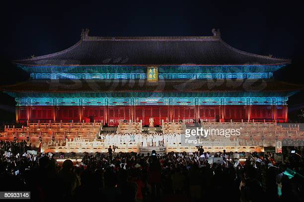 Chinese singers sing ' Beijing welcomes you' which was written especially for the 100 Days Countdown celebration to the Beijing Summer Olympics,...