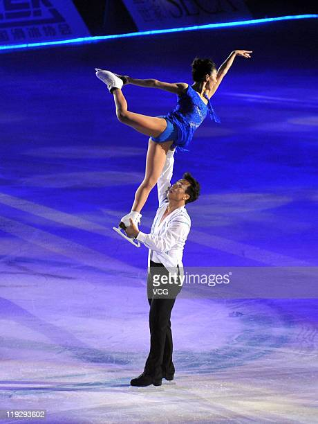 Chinese skaters Shen Xue and Zhao Hongbo perform at Artistry On Ice at Capital Indoor Stadium on July 16 2011 in Beijing China