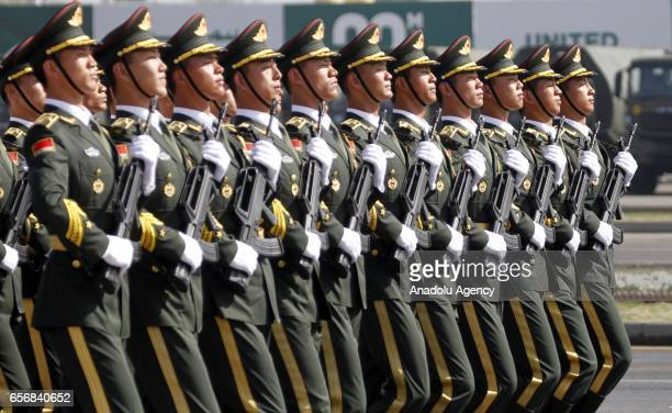 Chinese soldiers attend a military parade to mark Pakistan's National Day in Islamabad Pakistan on March 23 2017