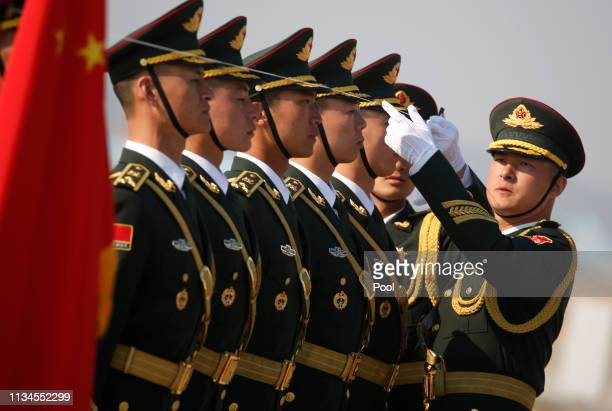 Chinese soldiers attend the handing over ceremony at the Incheon International Airport on April 3 2019 in Incheon South Korea At a ceremony at the...