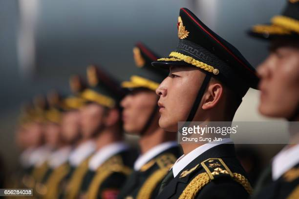 Chinese soldiers attend the handing over ceremony at the Incheon International Airport on March 22 2017 in Incheon South Korea At a ceremony at the...