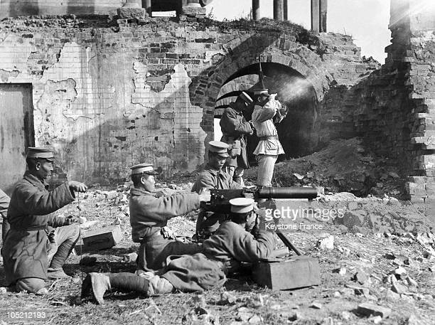 Chinese Soldiers In A Building In Ruins Defending The City Of Shanghai Against The Invasion Of The Japanese Army On January 29 1972