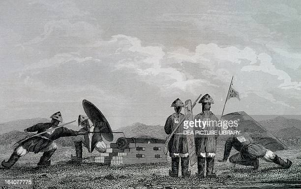 Chinese soldiers near a cannon engraving Opium War China 19th century