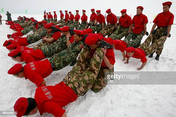 Chinese soldiers undergo winter training at a military camp in Changchun northeast China's Jilin province on January 7 2010 China again warned the...