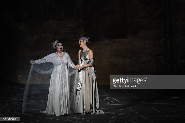 Chinese soprano Hui He as Leonora and French soprano Ludivine Gombert as Ines perform during the opera Il Trovatore by Guiseppe Verdi directed by...