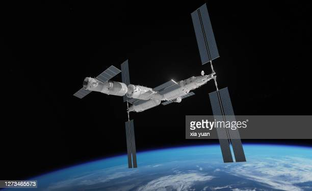 chinese space station in earth orbit - 宇宙ステーション ストックフォトと画像