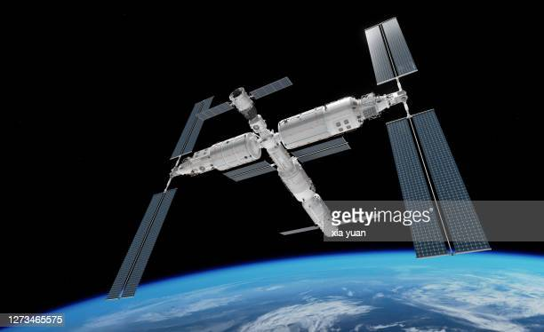 chinese space station in earth orbit - space station stock pictures, royalty-free photos & images