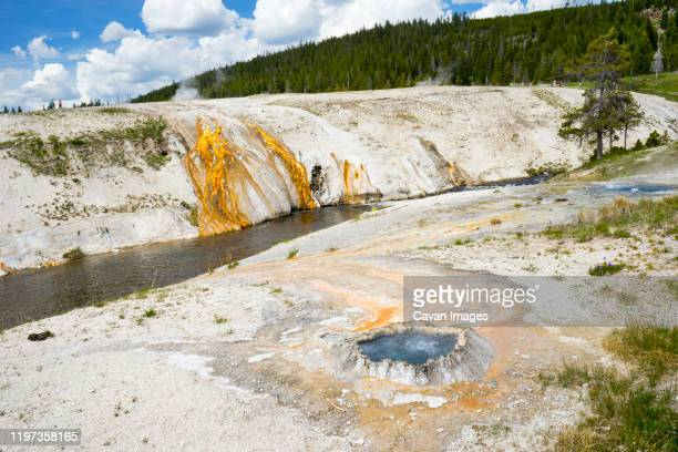 chinese spring, cascade geyser and sputter spring at geyser hill - drainage_basin stock pictures, royalty-free photos & images