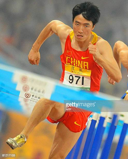 Chinese star Athlete Liu Xiang competes in the men's 110m hurdles semi final during the China Athletics Open on May 23, 2008 at Beijing National...
