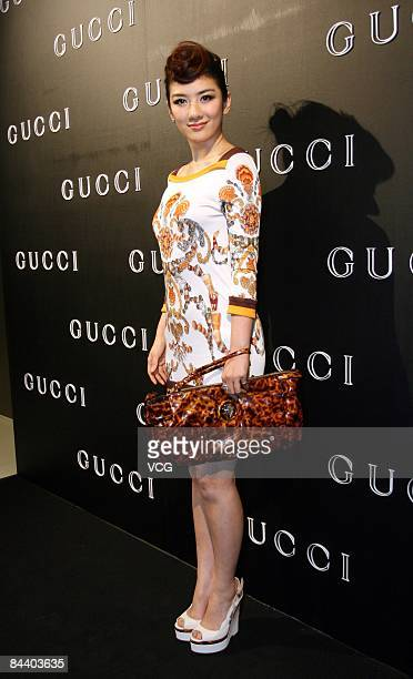 Chinese star Betty Huang attends the opening ceremony for the launch of a new Gucci shop on January 21 2009 in Xiamen Fujian Province China