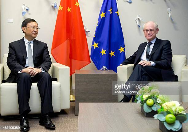 Chinese State Councillor Yang Jiechi meets with European Council President Herman Van Rompuy at the EU Council in Brussels Belgium on January 27 2014