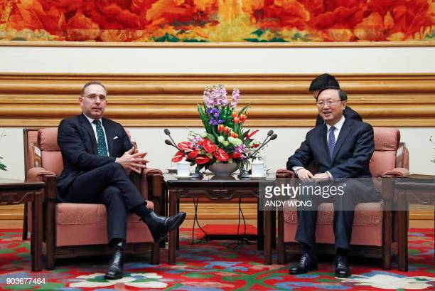 Chinese State Councillor Yang Jiechi talks to Mark Sedwill national security advisor to the British prime minister during a meeting at the...