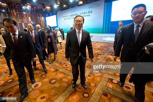 Chinese State Councilor Yang Jiechi leaves the 2016 First G20 Sherpa Meeting on January 14 2016 in Beijing China The 2016 G20 summit will be held in...
