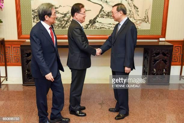 Chinese State Councilor Yang Jiechi meets with Republic of Korea's National Security Advisor Chung Eui-Yong and South Korean ambassador to China Noh...