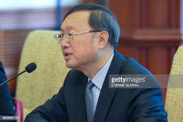 Chinese State Councilor Yang Jiechi speaks during a meeting with Republic of Korea's National Security Advisor Chung EuiYong and South Korean...