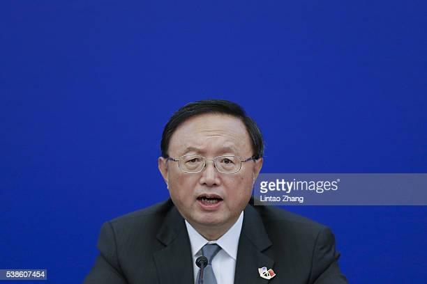 Chinese State Councilor Yang Jiechi speaks during the closing ceremony of the eighth round of USChina Strategic and Economic Dialogue at the Great...