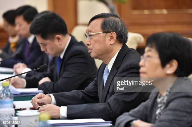 Chinese State Councilor Yang Jiechi speaks to Federica Mogherini the High Representative of the European Union for Foreign Affairs and Security...