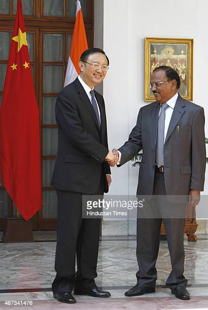 Chinese State Councilor Yang Jiechi with Indian National Security Advisor Ajit Doval for Special Representatives talks for boundary issue at...