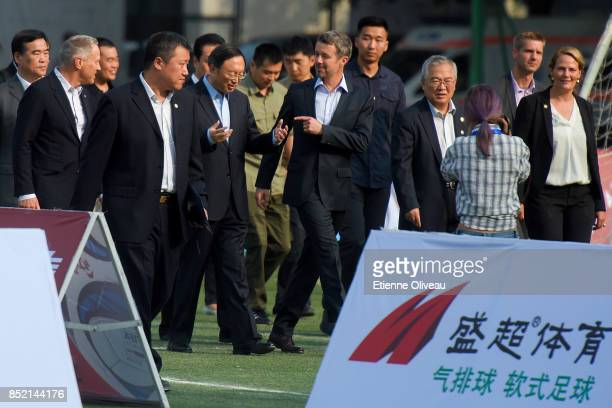 Chinese State Counsellor Yang Jiechi accompagnies The Crown Prince Frederik of Denmark to watch the final of the 3rd SinoNordic Cup Football...