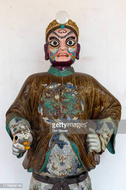 chinese statue in thai temple. - tim bewer stockfoto's en -beelden
