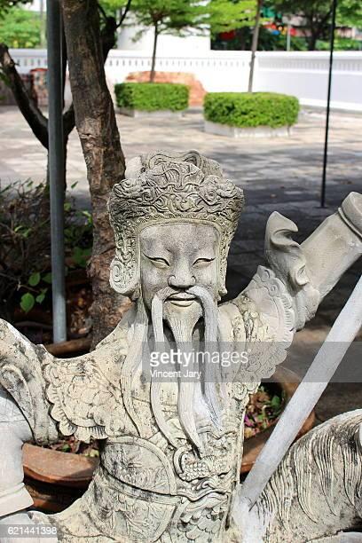Chinese statue Wat Sommanat Wihan temple Bangkok Thailand
