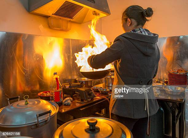 Chinese street Restaurant, cooking action