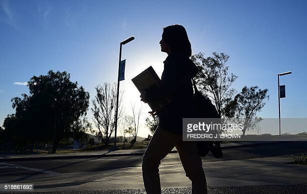 Chinese student Helen Zhou from Chengdu heads to Choir practice on campus at Linfield Christian School in Temecula California on March 23 2016...