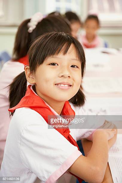 Chinese student in classroom at school