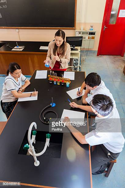 Chinese Students at Chemistry Class, Hong Kong, Asia