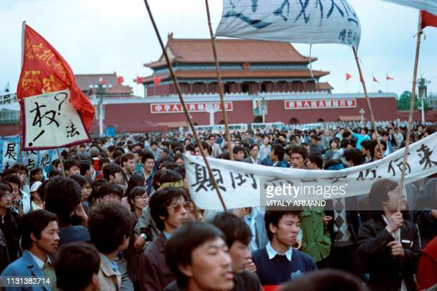 Chinese students gather in Tianamen Square, in Beijing on May 13, 1989. About 1000 students prepare for a hunger strike for more democracy and 5000...
