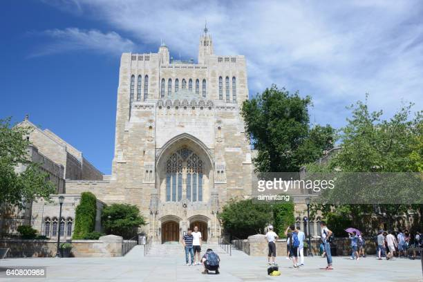 Chinese Students outside Sterling Memorial Library in Yale University