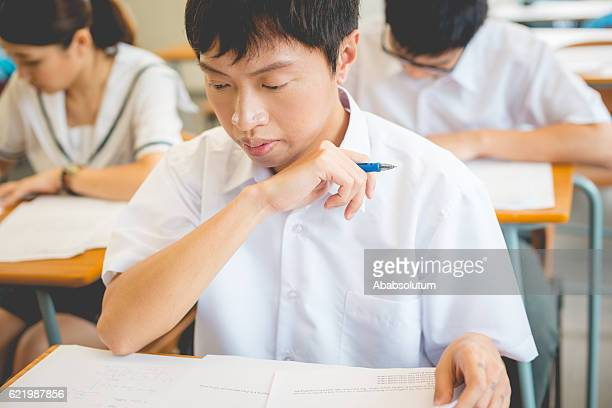 Chinese Students Writing Physics Exam, Hong Kong School, Asia