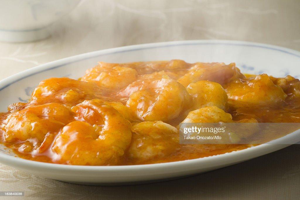 Chinese style chilli stir-fried shrimps : Stock Photo