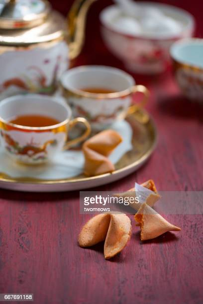 Chinese style fortune cookies close up image.