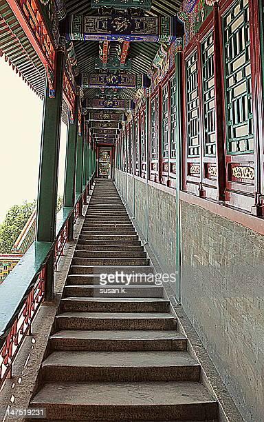 Chinese style long corridor stairway