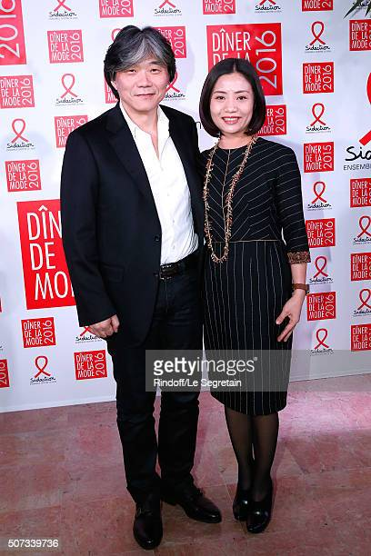 Chinese Stylist Guo Pei and her husband Jack attend the Sidaction Gala Dinner 2016 as part of Paris Fashion Week Held at Pavillon d'Armenonville on...