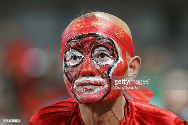 Chinese supporter looks on prior to the 2018 FIFA World Cup Qualifier Final Round Group A match between South Korea and China at Seoul World Cup...