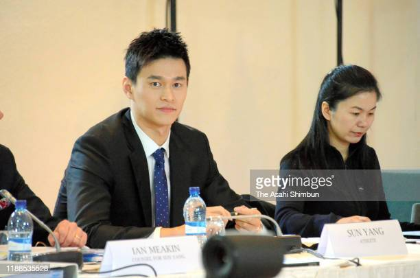 Chinese swimmer Sun Yang attends the CAS hearing on November 15 2019 in Montreux Switzerland