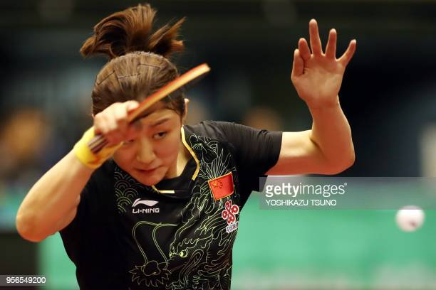 Chinese table tennis player Chen Meng returns the ball against her compatriot Sun Yingsha during women's singles final of the ITTF World Tour...