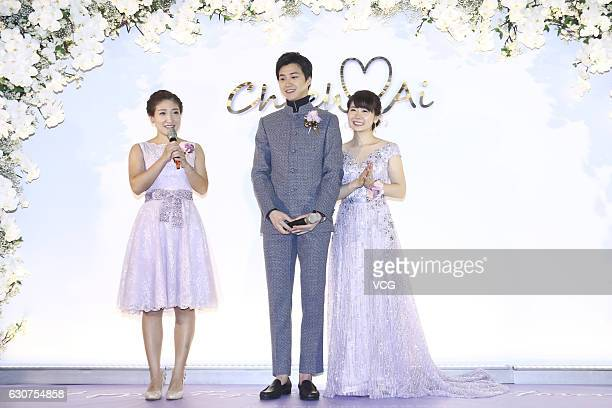 Chinese table tennis player Liu Shiwen attends Taiwanese table tennis player Chiang Hung-chieh and Japanese table tennis player Ai Fukuhara's wedding...