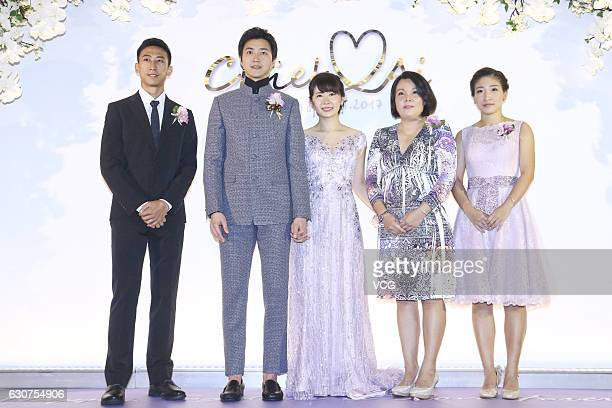 Chinese table tennis player Liu Shiwen attends the wedding ceremony of Taiwanese table tennis player Chiang Hung-chieh and Japanese table tennis...