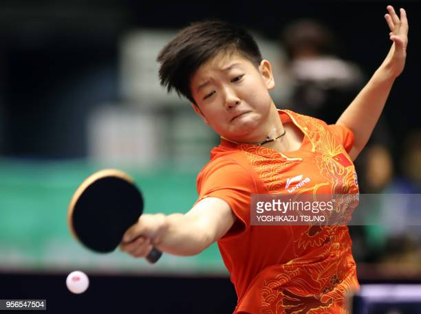 Chinese table tennis player Sun Yingsha returns the ball against her compatriot Chen Meng during women's singles final of the ITTF World Tour...