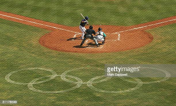 Chinese Taipei batter faces a pitch at home plate during baseball preliminary game between Australia and Chinese Taipei on August 16 2004 during the...