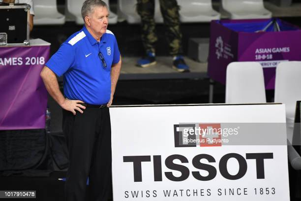 Chinese Taipei coach Albert Kenyon Wagner reacts during the Women's Basketball Preliminary round between Unified Corea and Chinese Taipei in the...