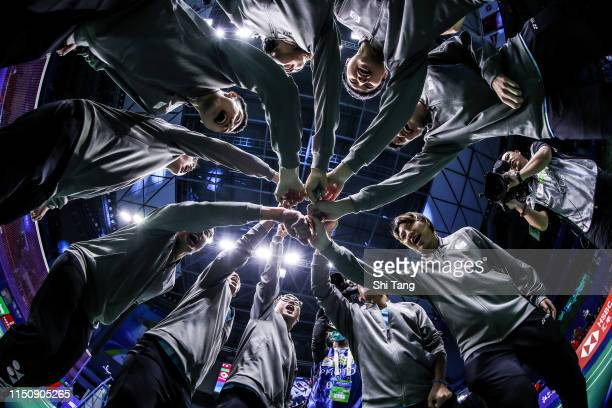Chinese Taipei Team builds a circle to cheer before the match against Korea during day four of the Sudirman Cup at Guangxi Sports Center on May 22...