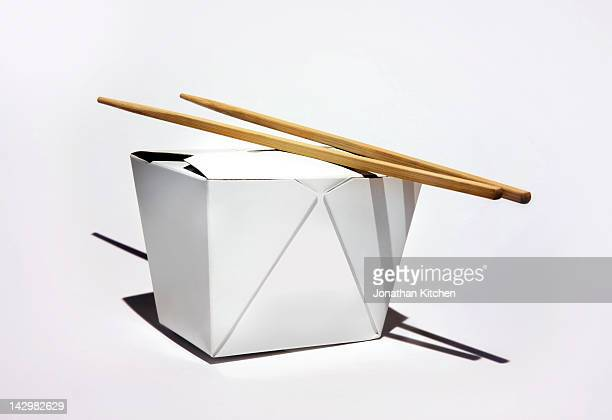 Chinese takeaway box with chopsticks